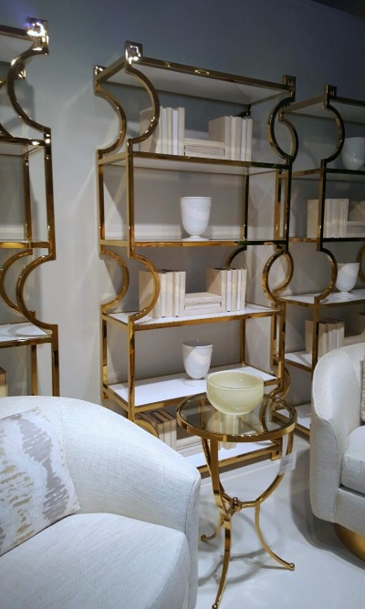 Bernhardt Furniture gold occasional table and etagere
