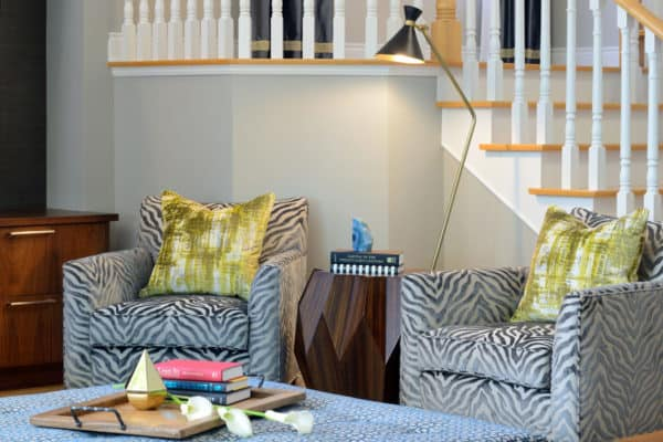 zebra wood table in family room