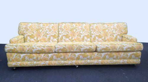 Vintage Mid-Century Modern MARGE CARSON Floral Design SOFA Couch MAD MEN ERA